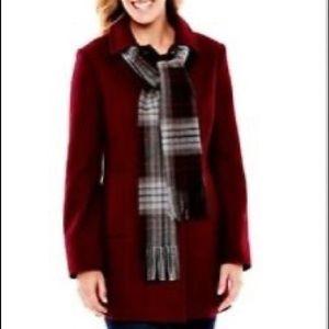 ✨ NWOT St. John's Bay Burgundy Wool Blend Coat